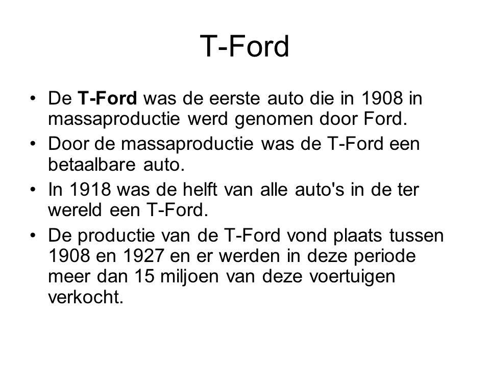 T-Ford De T-Ford was de eerste auto die in 1908 in massaproductie werd genomen door Ford.