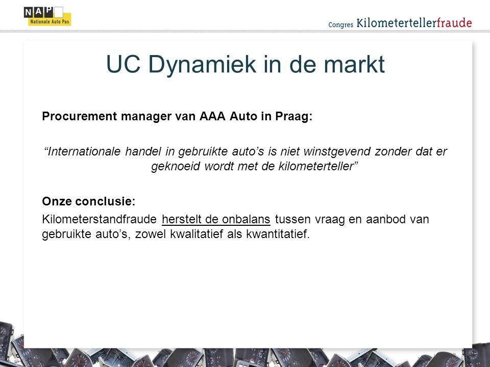 UC Dynamiek in de markt Procurement manager van AAA Auto in Praag: Internationale handel in gebruikte auto's is niet winstgevend zonder dat er geknoeid wordt met de kilometerteller Onze conclusie: Kilometerstandfraude herstelt de onbalans tussen vraag en aanbod van gebruikte auto's, zowel kwalitatief als kwantitatief.