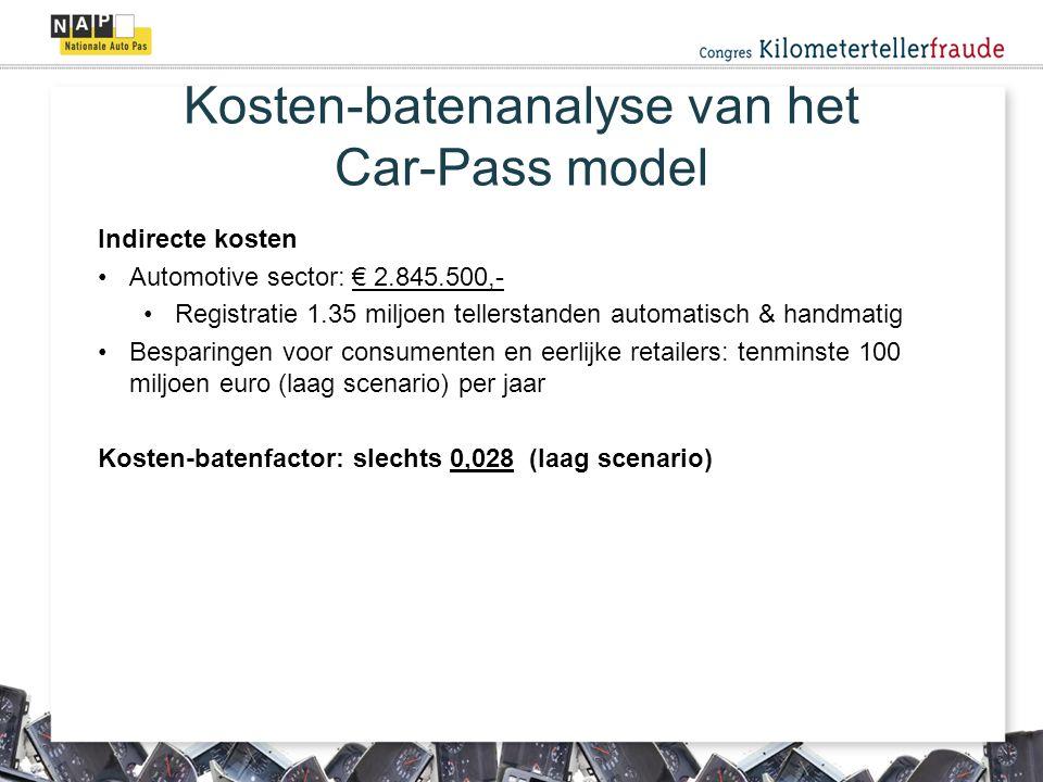 Indirecte kosten Automotive sector: € 2.845.500,- Registratie 1.35 miljoen tellerstanden automatisch & handmatig Besparingen voor consumenten en eerlijke retailers: tenminste 100 miljoen euro (laag scenario) per jaar Kosten-batenfactor: slechts 0,028 (laag scenario) Kosten-batenanalyse van het Car-Pass model