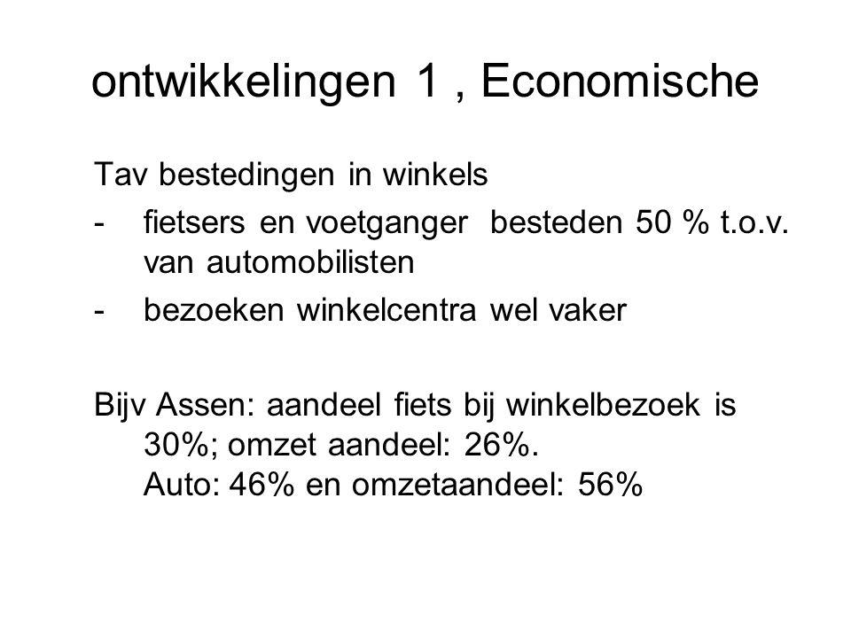 ontwikkelingen 1, Economische Tav bestedingen in winkels -fietsers en voetganger besteden 50 % t.o.v.