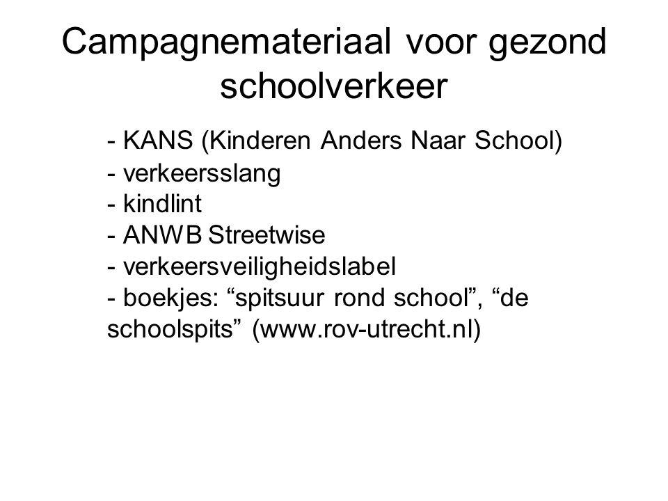 Campagnemateriaal voor gezond schoolverkeer - KANS (Kinderen Anders Naar School) - verkeersslang - kindlint - ANWB Streetwise - verkeersveiligheidslabel - boekjes: spitsuur rond school , de schoolspits (www.rov-utrecht.nl)