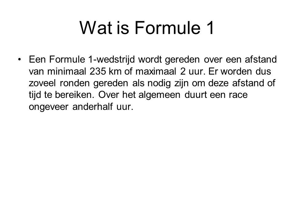 Wat is Formule 1 Een Formule 1-wedstrijd wordt gereden over een afstand van minimaal 235 km of maximaal 2 uur. Er worden dus zoveel ronden gereden als