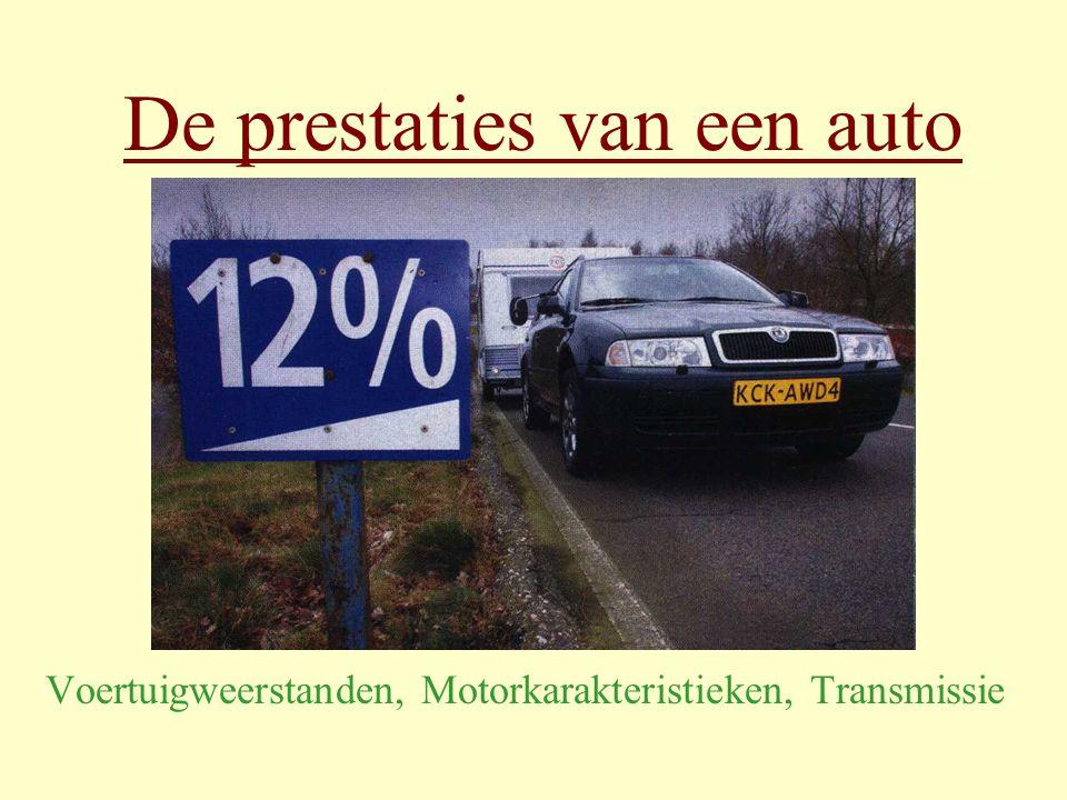 J.Nieuwland Prestaties van een auto 11 Ei-diagram 1 Horizontale as: rotatiefrequentie [ Hz ] Verticale as: Gemiddelde effectieve druk p e [ bar ] (is evenredig met T max ) Velden: specifiek verbruik Be [ g/kWh ] Be min < 245 g/kWh Laagste specifieke verbruik: Bijna veel gas, middentoeren