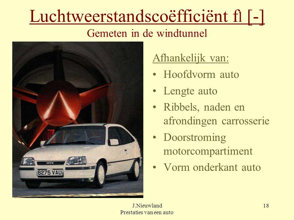 J.Nieuwland Prestaties van een auto 17 Luchtweerstand Fl [ N ] Ontstaat door luchtstroming tegen en langs de auto Berekenen met: Fl =  /2 x A x c w x