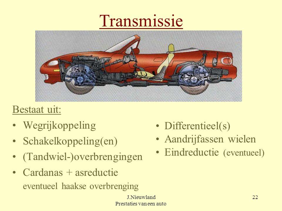 J.Nieuwland Prestaties van een auto 21 Weerstandsvermogen P [W] Vermogen is kracht maal snelheid [ Nm/s = W ] P r = m x g x f r x v v [ W ] P l =  /2