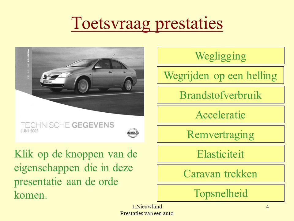 J.Nieuwland Prestaties van een auto 4 Toetsvraag prestaties Klik op de knoppen van de eigenschappen die in deze presentatie aan de orde komen.
