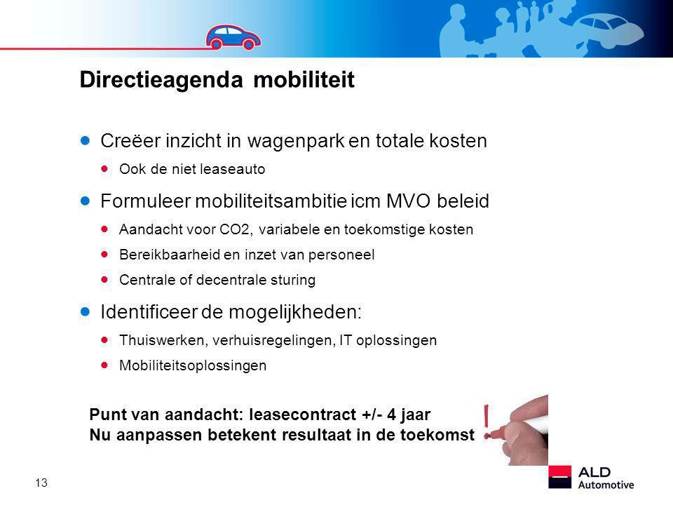 13 Directieagenda mobiliteit  Creëer inzicht in wagenpark en totale kosten  Ook de niet leaseauto  Formuleer mobiliteitsambitie icm MVO beleid  Aandacht voor CO2, variabele en toekomstige kosten  Bereikbaarheid en inzet van personeel  Centrale of decentrale sturing  Identificeer de mogelijkheden:  Thuiswerken, verhuisregelingen, IT oplossingen  Mobiliteitsoplossingen Punt van aandacht: leasecontract +/- 4 jaar Nu aanpassen betekent resultaat in de toekomst