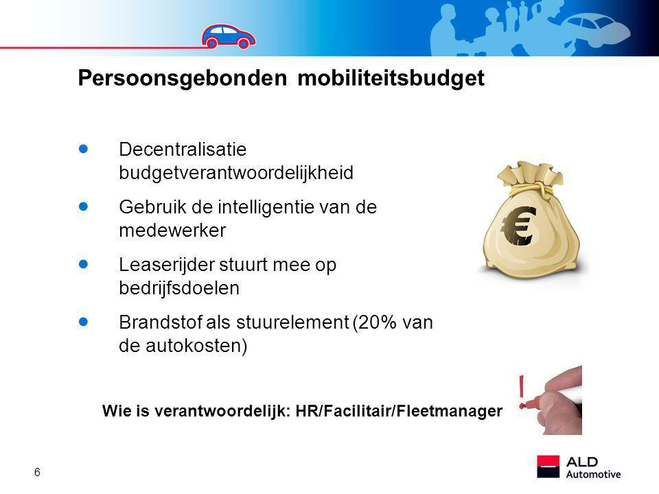 6 Persoonsgebonden mobiliteitsbudget  Decentralisatie budgetverantwoordelijkheid  Gebruik de intelligentie van de medewerker  Leaserijder stuurt mee op bedrijfsdoelen  Brandstof als stuurelement (20% van de autokosten) Wie is verantwoordelijk: HR/Facilitair/Fleetmanager