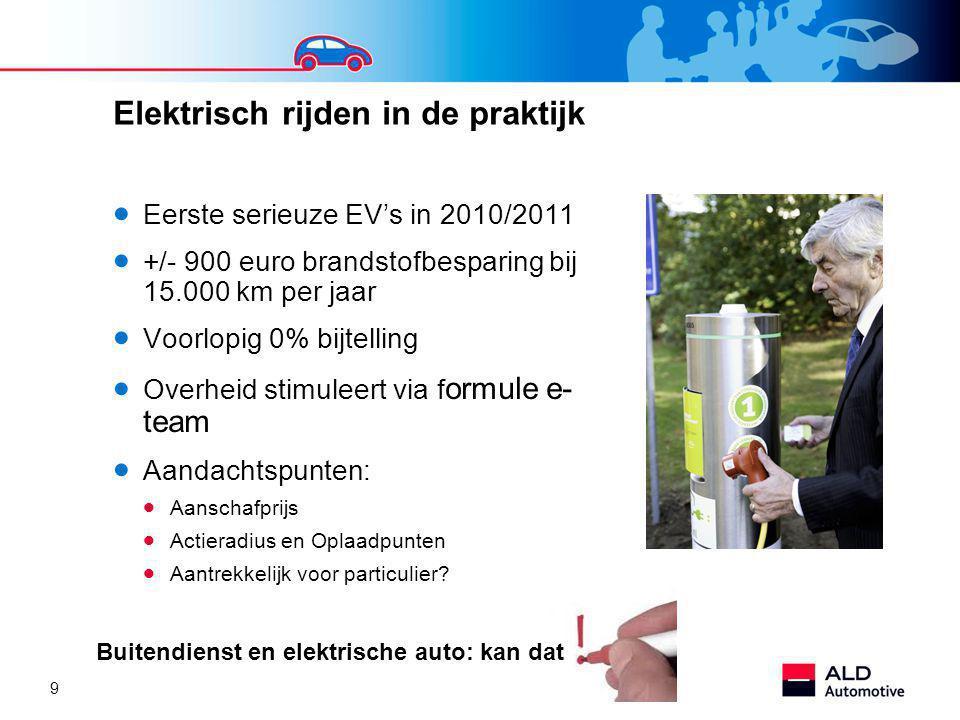 9 Elektrisch rijden in de praktijk  Eerste serieuze EV's in 2010/2011  +/- 900 euro brandstofbesparing bij 15.000 km per jaar  Voorlopig 0% bijtelling  Overheid stimuleert via f ormule e- team  Aandachtspunten:  Aanschafprijs  Actieradius en Oplaadpunten  Aantrekkelijk voor particulier.