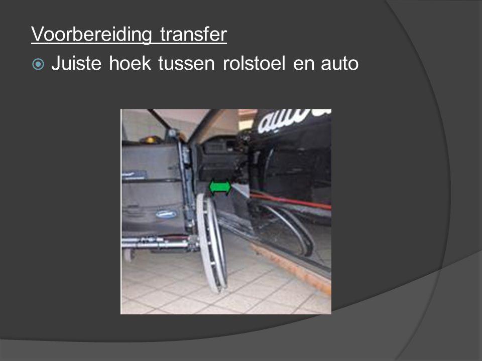 Voorbereiding transfer  Juiste hoek tussen rolstoel en auto