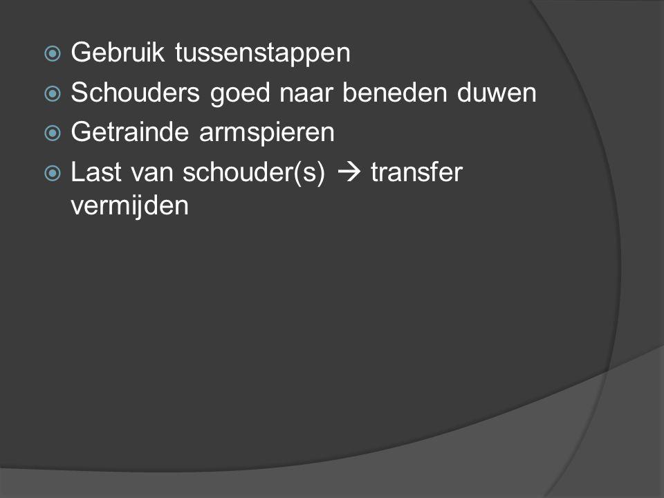  Gebruik tussenstappen  Schouders goed naar beneden duwen  Getrainde armspieren  Last van schouder(s)  transfer vermijden