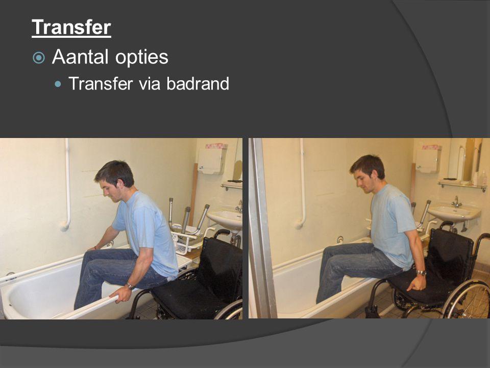 Transfer  Aantal opties Transfer via badrand