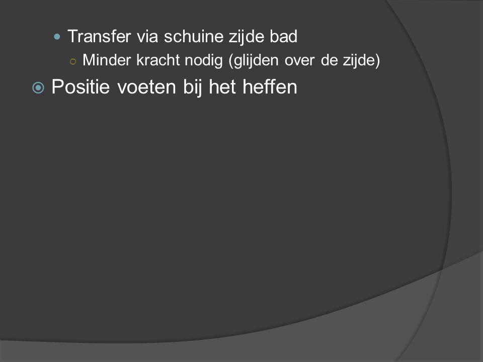 Transfer via schuine zijde bad ○ Minder kracht nodig (glijden over de zijde)  Positie voeten bij het heffen