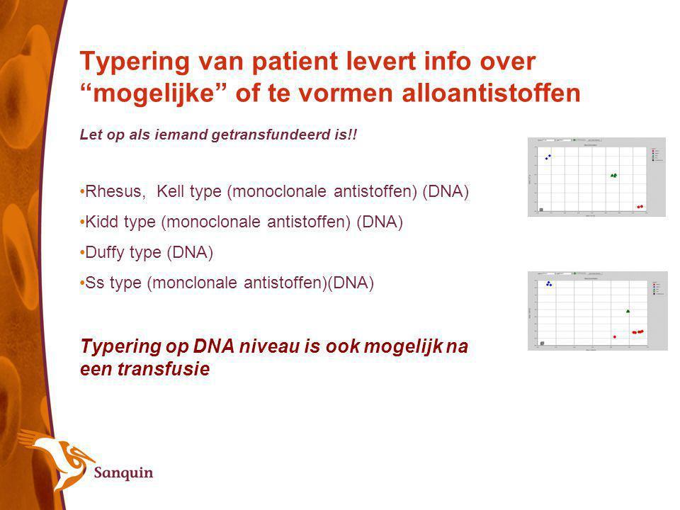 """Typering van patient levert info over """"mogelijke"""" of te vormen alloantistoffen Let op als iemand getransfundeerd is!! Rhesus, Kell type (monoclonale a"""