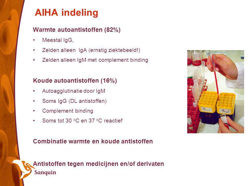 AIHA indeling Warmte autoantistoffen (82%) Meestal IgG, Zelden alleen IgA (ernstig ziektebeeld!) Zelden alleen IgM met complement binding Koude autoan