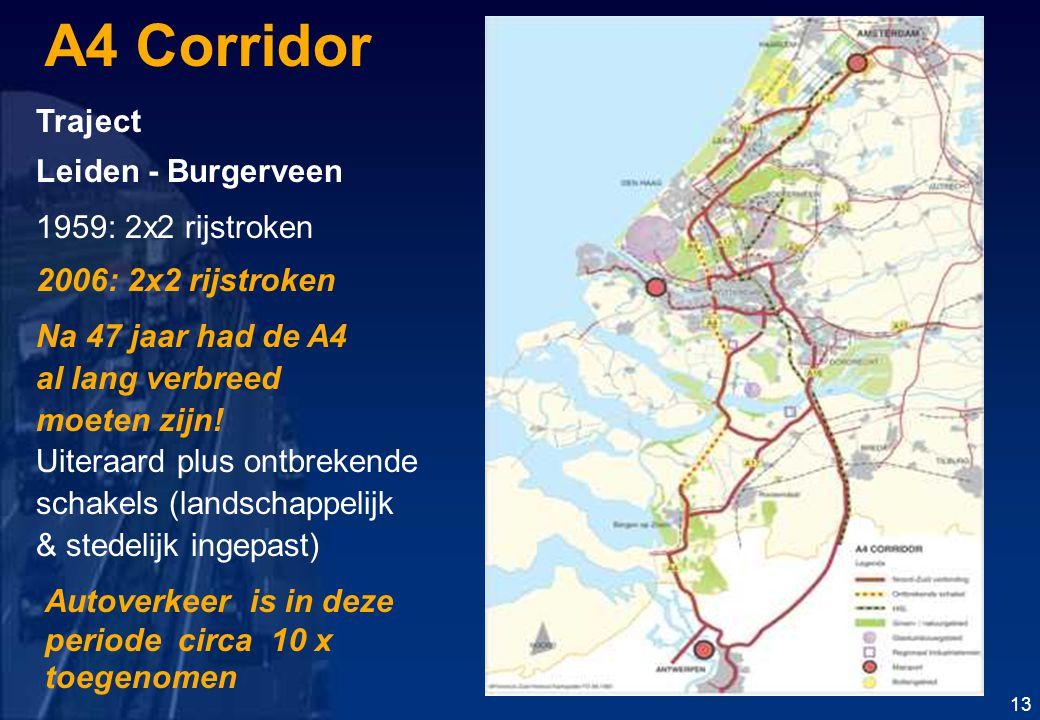 A4 Corridor Traject Leiden - Burgerveen 1959: 2x2 rijstroken 2006: 2x2 rijstroken Na 47 jaar had de A4 al lang verbreed moeten zijn.