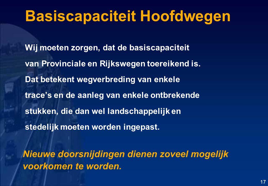 Basiscapaciteit Hoofdwegen Wij moeten zorgen, dat de basiscapaciteit van Provinciale en Rijkswegen toereikend is.