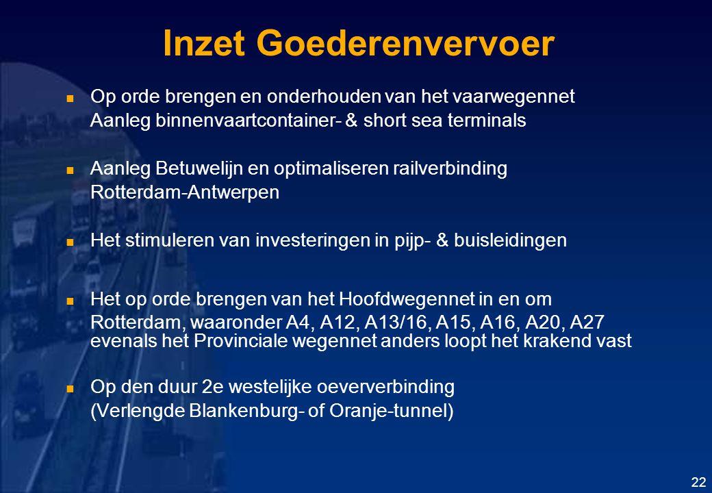 Inzet Goederenvervoer Op orde brengen en onderhouden van het vaarwegennet Aanleg binnenvaartcontainer- & short sea terminals Aanleg Betuwelijn en optimaliseren railverbinding Rotterdam-Antwerpen Het stimuleren van investeringen in pijp- & buisleidingen Het op orde brengen van het Hoofdwegennet in en om Rotterdam, waaronder A4, A12, A13/16, A15, A16, A20, A27 evenals het Provinciale wegennet anders loopt het krakend vast Op den duur 2e westelijke oeververbinding (Verlengde Blankenburg- of Oranje-tunnel) 22