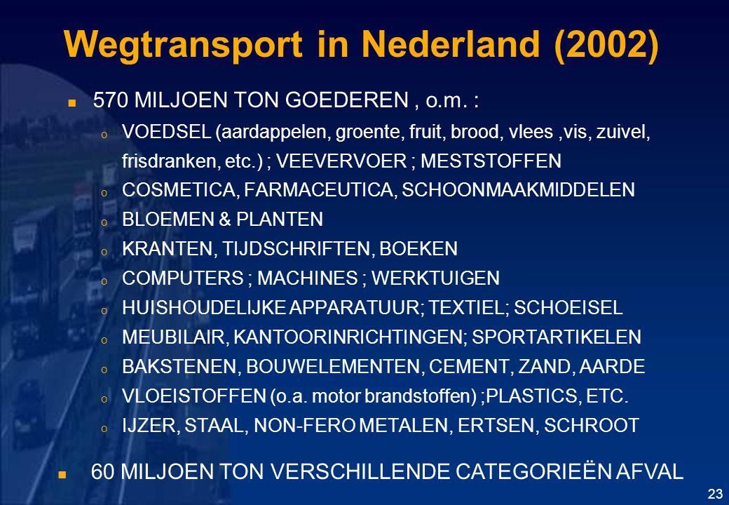 Wegtransport in Nederland (2002) 570 MILJOEN TON GOEDEREN, o.m.