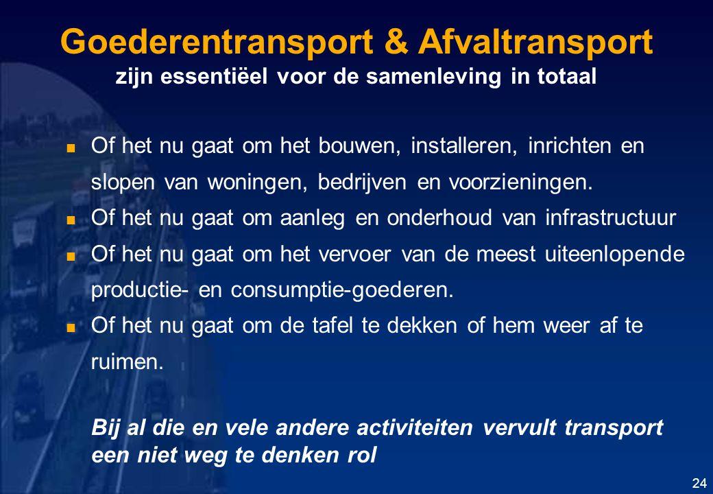 Goederentransport & Afvaltransport zijn essentiëel voor de samenleving in totaal Of het nu gaat om het bouwen, installeren, inrichten en slopen van woningen, bedrijven en voorzieningen.