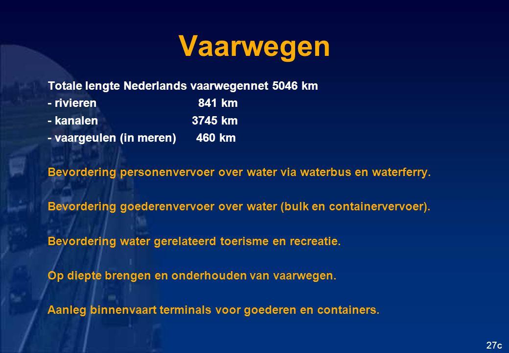 Vaarwegen Totale lengte Nederlands vaarwegennet 5046 km - rivieren 841 km - kanalen 3745 km - vaargeulen (in meren) 460 km Bevordering personenvervoer over water via waterbus en waterferry.
