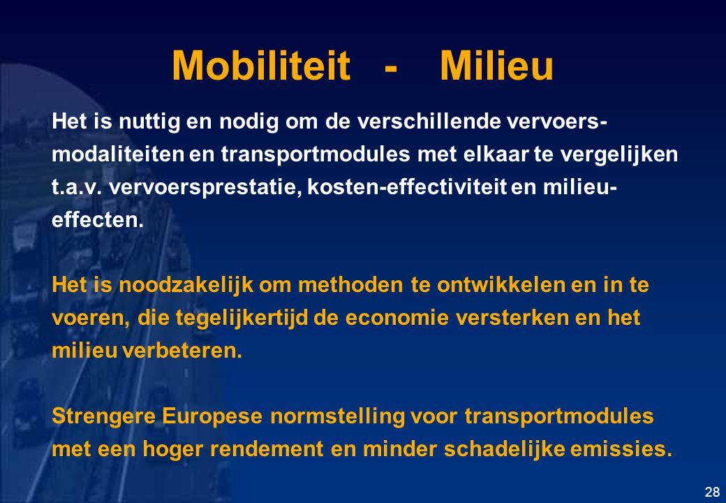 Mobiliteit -Milieu Het is nuttig en nodig om de verschillende vervoers- modaliteiten en transportmodules met elkaar te vergelijken t.a.v.