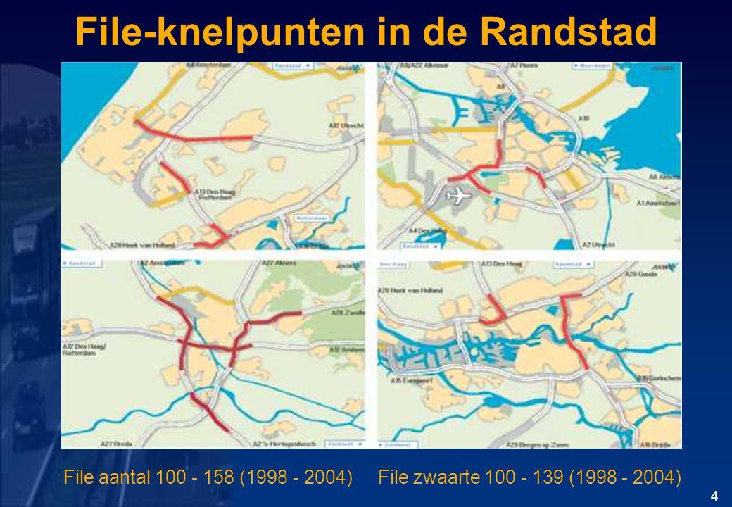 File-knelpunten in de Randstad 4 File aantal 100 - 158 (1998 - 2004) File zwaarte 100 - 139 (1998 - 2004)