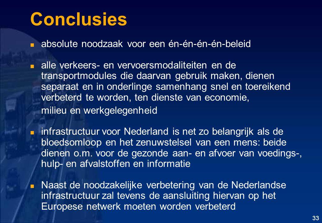 Conclusies absolute noodzaak voor een én-én-én-én-beleid alle verkeers- en vervoersmodaliteiten en de transportmodules die daarvan gebruik maken, dienen separaat en in onderlinge samenhang snel en toereikend verbeterd te worden, ten dienste van economie, milieu en werkgelegenheid infrastructuur voor Nederland is net zo belangrijk als de bloedsomloop en het zenuwstelsel van een mens: beide dienen o.m.