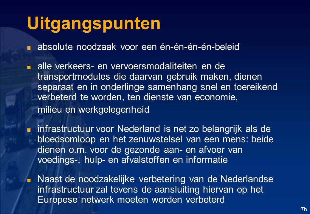7b Uitgangspunten absolute noodzaak voor een én-én-én-én-beleid alle verkeers- en vervoersmodaliteiten en de transportmodules die daarvan gebruik maken, dienen separaat en in onderlinge samenhang snel en toereikend verbeterd te worden, ten dienste van economie, milieu en werkgelegenheid infrastructuur voor Nederland is net zo belangrijk als de bloedsomloop en het zenuwstelsel van een mens: beide dienen o.m.