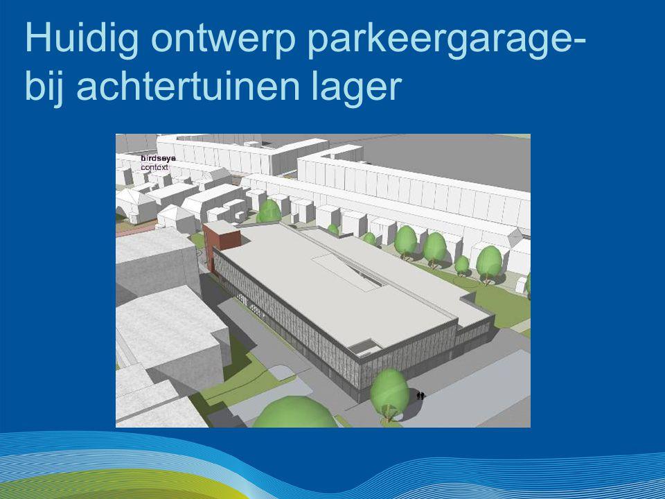 Huidig ontwerp parkeergarage- bij achtertuinen lager