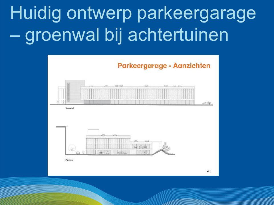 Huidig ontwerp parkeergarage – groenwal bij achtertuinen