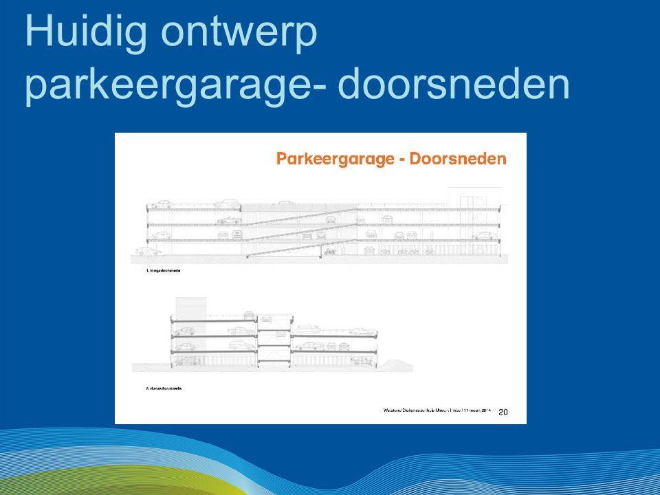 Huidig ontwerp parkeergarage- doorsneden