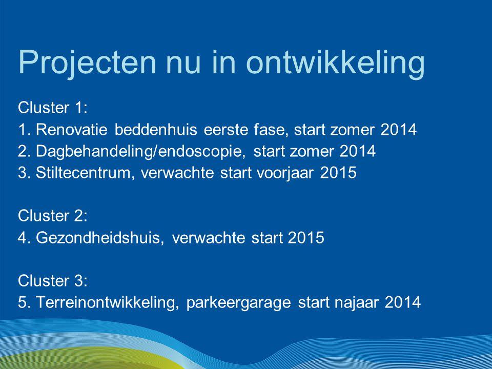 Projecten nu in ontwikkeling Cluster 1: 1. Renovatie beddenhuis eerste fase, start zomer 2014 2. Dagbehandeling/endoscopie, start zomer 2014 3. Stilte