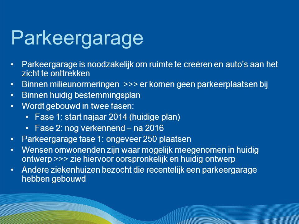 Parkeergarage Parkeergarage is noodzakelijk om ruimte te creëren en auto's aan het zicht te onttrekken Binnen milieunormeringen >>> er komen geen park