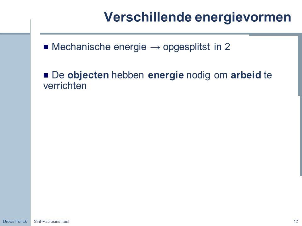 Broos Fonck Sint-Paulusinstituut12 Verschillende energievormen Mechanische energie → opgesplitst in 2 De objecten hebben energie nodig om arbeid te ve