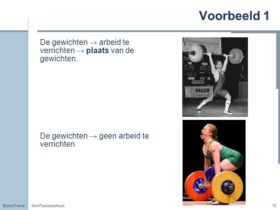 Broos Fonck Sint-Paulusinstituut15 Voorbeeld 1 De gewichten → arbeid te verrichten → plaats van de gewichten. De gewichten → geen arbeid te verrichten