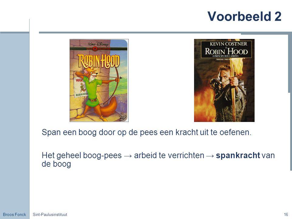 Broos Fonck Sint-Paulusinstituut16 Voorbeeld 2 Span een boog door op de pees een kracht uit te oefenen. Het geheel boog-pees → arbeid te verrichten →