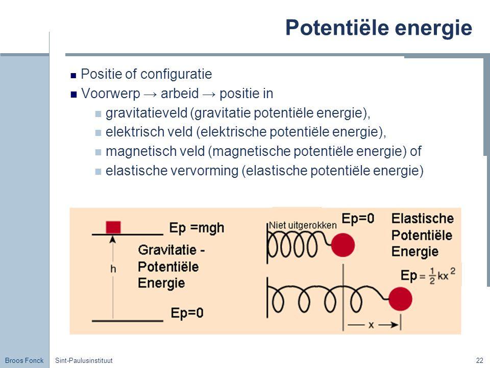 Broos Fonck Sint-Paulusinstituut22 Potentiële energie Positie of configuratie Voorwerp → arbeid → positie in gravitatieveld (gravitatie potentiële ene