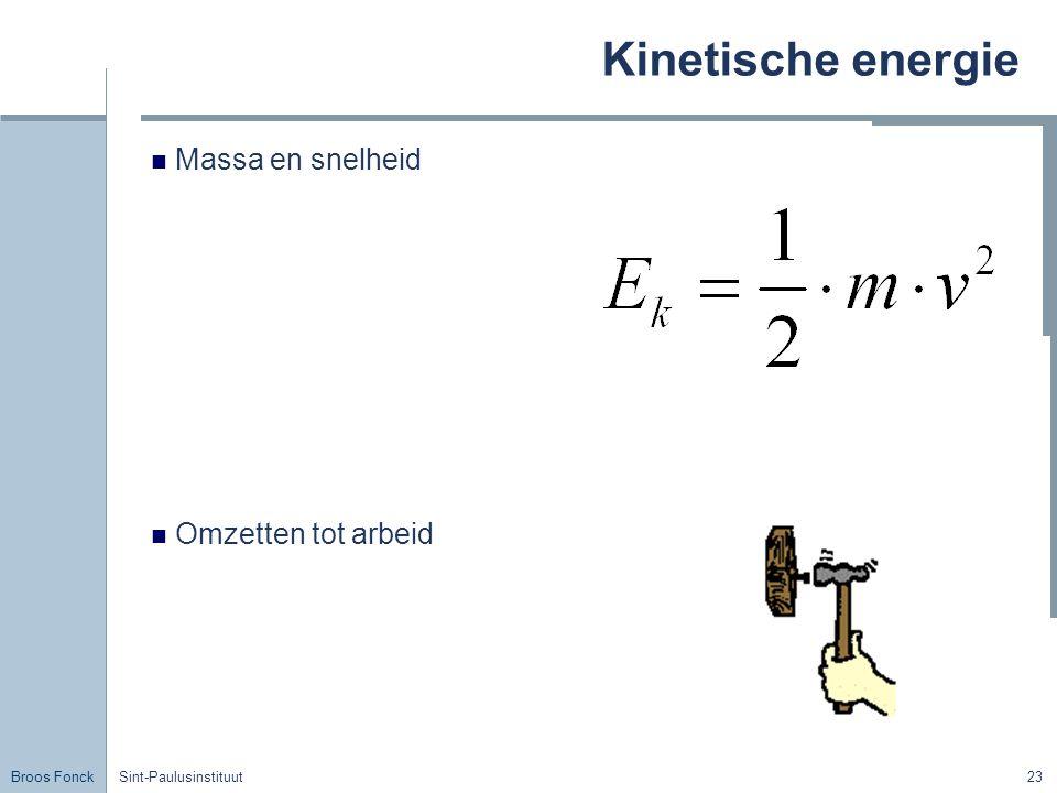 Broos Fonck Sint-Paulusinstituut23 Kinetische energie Massa en snelheid Omzetten tot arbeid