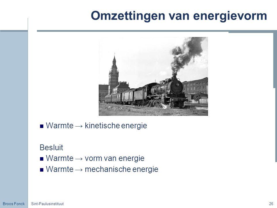 Broos Fonck Sint-Paulusinstituut26 Omzettingen van energievorm Warmte → kinetische energie Besluit Warmte → vorm van energie Warmte → mechanische ener