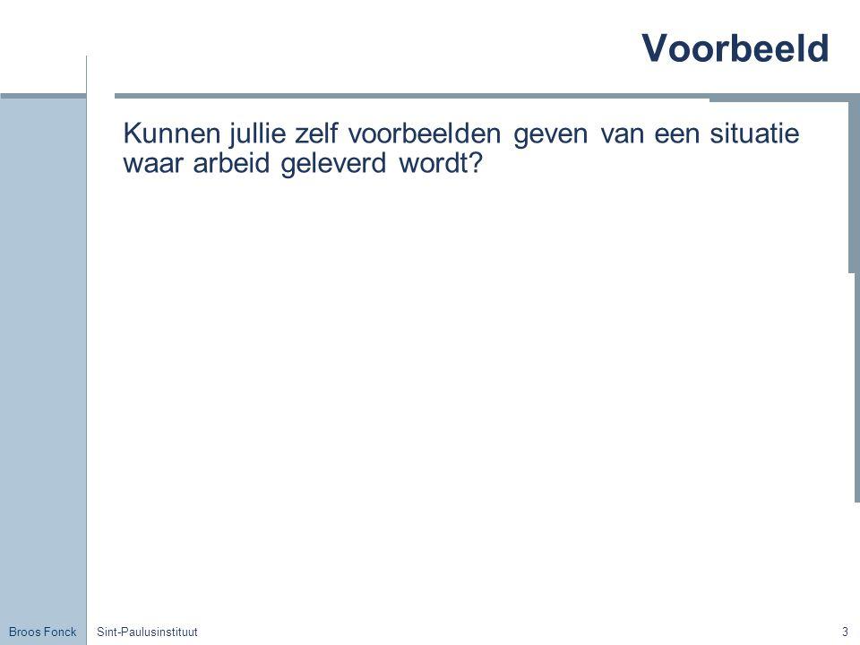 Broos Fonck Sint-Paulusinstituut3 Voorbeeld Kunnen jullie zelf voorbeelden geven van een situatie waar arbeid geleverd wordt?