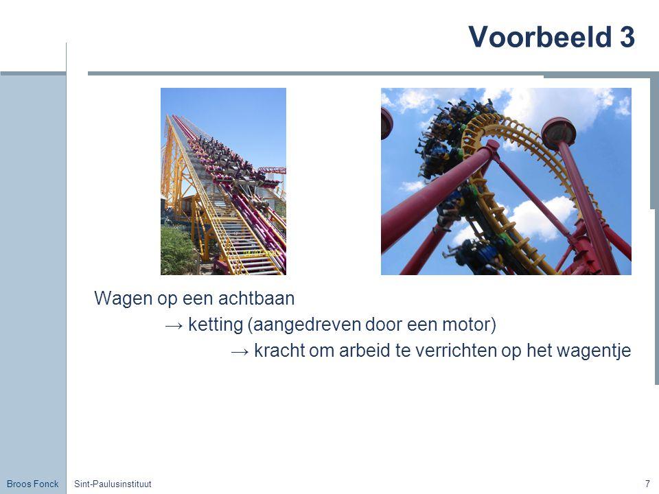 Broos Fonck Sint-Paulusinstituut7 Voorbeeld 3 Wagen op een achtbaan → ketting (aangedreven door een motor) → kracht om arbeid te verrichten op het wag
