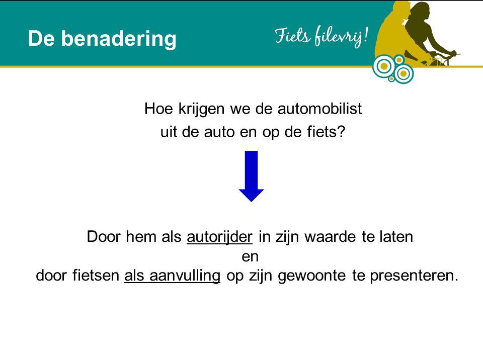 De benadering Hoe krijgen we de automobilist uit de auto en op de fiets? Door hem als autorijder in zijn waarde te laten en door fietsen als aanvullin