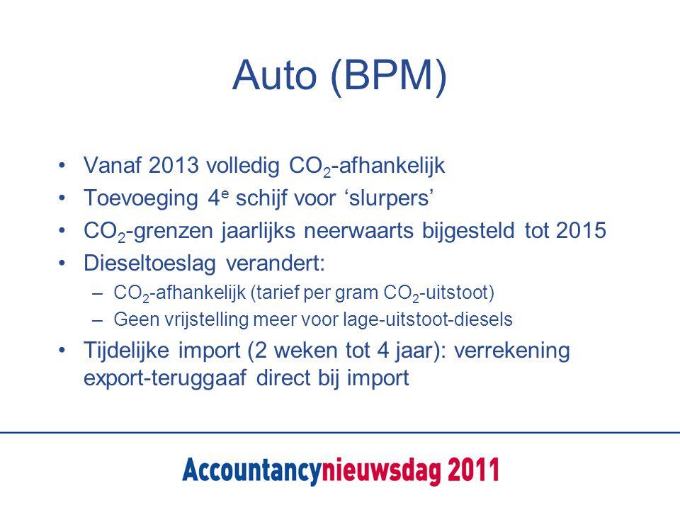 Auto (BPM) Vanaf 2013 volledig CO 2 -afhankelijk Toevoeging 4 e schijf voor 'slurpers' CO 2 -grenzen jaarlijks neerwaarts bijgesteld tot 2015 Dieseltoeslag verandert: –CO 2 -afhankelijk (tarief per gram CO 2 -uitstoot) –Geen vrijstelling meer voor lage-uitstoot-diesels Tijdelijke import (2 weken tot 4 jaar): verrekening export-teruggaaf direct bij import