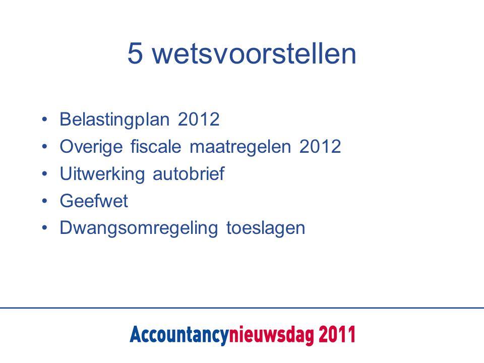 5 wetsvoorstellen Belastingplan 2012 Overige fiscale maatregelen 2012 Uitwerking autobrief Geefwet Dwangsomregeling toeslagen