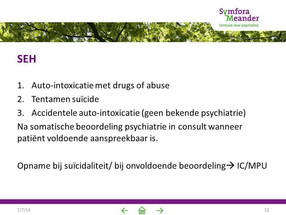 SEH 1.Auto-intoxicatie met drugs of abuse 2.Tentamen suïcide 3.Accidentele auto-intoxicatie (geen bekende psychiatrie) Na somatische beoordeling psych