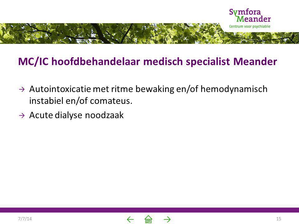 MC/IC hoofdbehandelaar medisch specialist Meander Autointoxicatie met ritme bewaking en/of hemodynamisch instabiel en/of comateus. Acute dialyse noodz