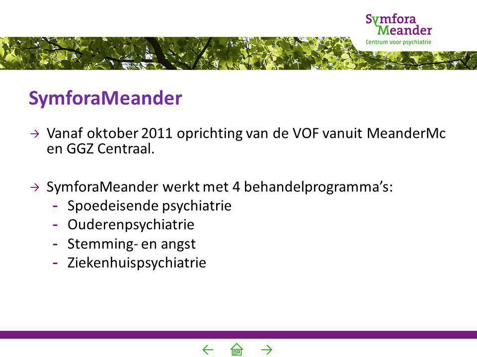 SymforaMeander Vanaf oktober 2011 oprichting van de VOF vanuit MeanderMc en GGZ Centraal. SymforaMeander werkt met 4 behandelprogramma's: -Spoedeisend