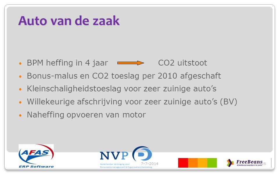 Auto van de zaak 7-7-201427 SoortCO² g/km Jaar 2000 BPM € korting Jaar 2000 CO² max CO² max Bijtelling % resp.