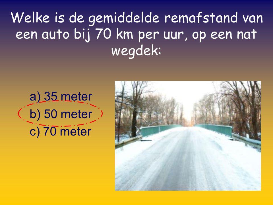 a) 35 meter b) 50 meter c) 70 meter Welke is de gemiddelde remafstand van een auto bij 70 km per uur, op een nat wegdek: